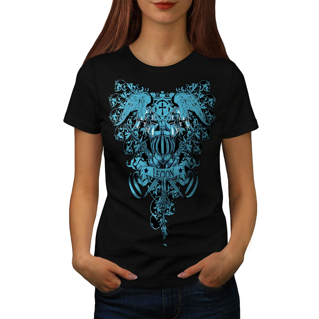 Kingdom Legion Cross Dead Symbol Women Black T-shirt | Wellcoda