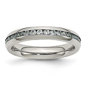 4 mm 3 月光青立方ジルコニア リングの指輪のサイズを磨かれたステンレス鋼: 6 に 9