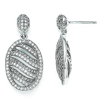 Sterling Silver and CZ Polished Oval Post Earrings