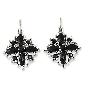 Silber-Ton Black Crystal Flower Brisur Ohrringe