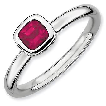 Sterling Silver Stackable Expressions Cushion Cut Created Ruby Ring - Ring Size: 5 to 10