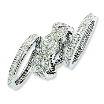 Sterling Silver Pave Rhodium-plated and Cubic Zirconia 3 Piece Fancy Ring Set - Ring Size: 6 to 8