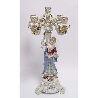 porcelain deco candlestick with 5 arms