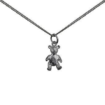 Silver 15x10mm sitting Teddy Bear Pendant with a curb Chain 18 inches