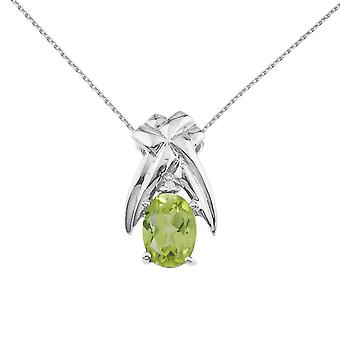 14k White Gold 7x5 mm Peridot and Diamond Oval Shaped Pendant with 18