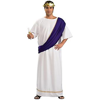 Roman Noble Emperor Greek Deluxe Toga Julius Caesar Men Costume with Wreath