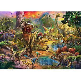 Landschap van dinosaurussen Poster Print by Jan Patrick