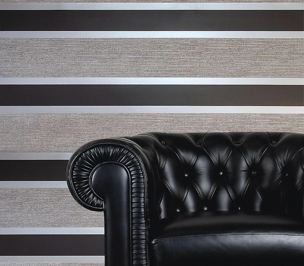 Direct Wallpapers Striped Black Silver Stripes Retro Embossed Metallic Wallpaper