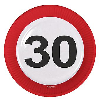 Party plate traffic sign number 30 birthday plates 8 PCs paper plates party