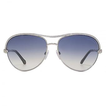 Roberto Cavalli Vega Aviator Sunglasses In Shiny Palladium