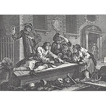 William Hogarth - Prentice at Play in de kerk Poster Print Giclee