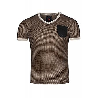 RUSTY NEAL pattern shirt men's T-Shirt brown leather look
