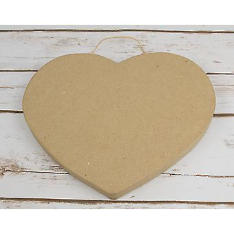 Paper Mache Large Hanging Heart Shape for Adult Crafts - 23cm