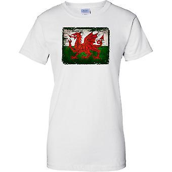 Welsh Dragon Grunge Effect Flag - Ladies T Shirt