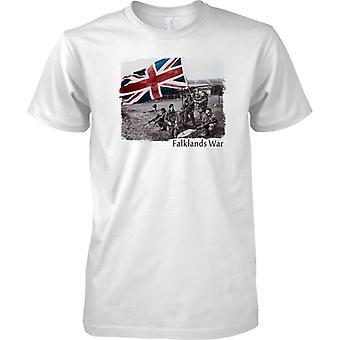 Falklands War Victory - Royal Marines Raising Flag - Mens T Shirt