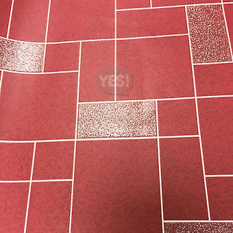 Winchester Tile Wallpaper Kitchen Bathroom Washable Vinyl Glitter Red Holden