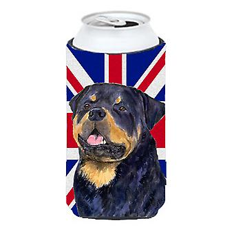 Rottweiler with English Union Jack British Flag Tall Boy Beverage Insulator Hugg