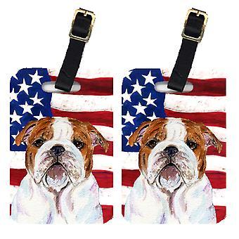 Пара американский флаг США с бульдог Английский Камера Теги