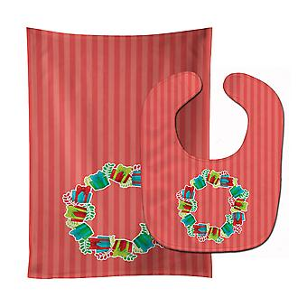 Carolines Treasures  BB6976STBU Christmas Wreath Presents Baby Bib & Burp Cloth