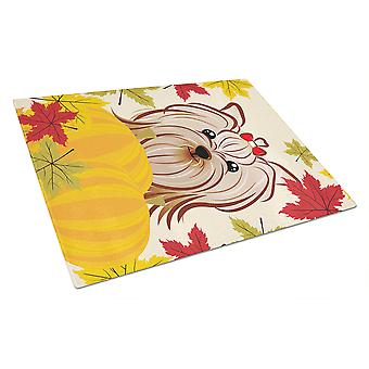 Yorkie Yorkishire Terrier Thanksgiving Glass Cutting Board Large