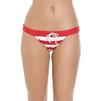 Camille Nautical Stripe Plain Waistband Bikini Brief Red