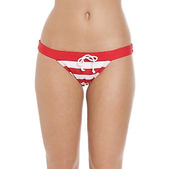 Camille nautiske Stripe ren linning Bikini kort rød