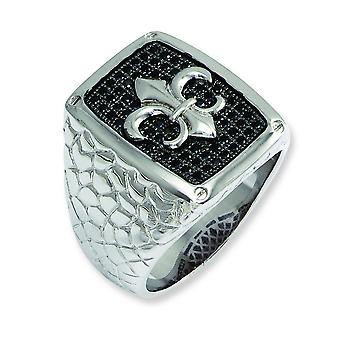 Sterling Silver Pave Fleur De Lis Rhodium-plated and Black Cubic Zirconia Brilliant Embers Mens Ring - Ring Size: 9 to 1