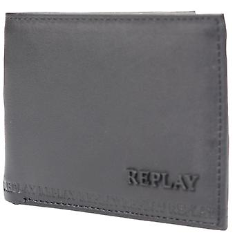 Replay Fm5111 Leather Black Wallet