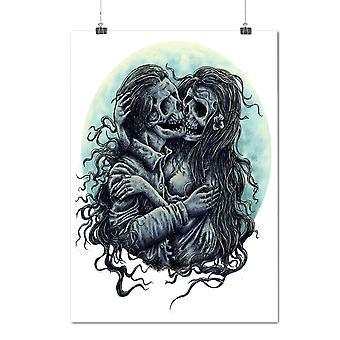 Matte or Glossy Poster with Zombie Dead Love Skull | Wellcoda | *d2052