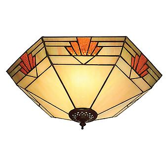 Nevada Large Tiffany Style Two Light Flush Ceiling Fixture - Interiors 1900 64284