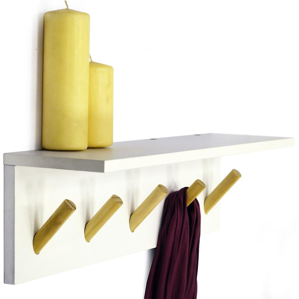Darwin - Floating 2ft / 60cm Wall Shelf With 5 Coat Hooks / Bathroom Storage - White / Natural