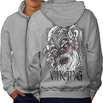 North Warrior Fantasy Men GreyHoodie Back | Wellcoda