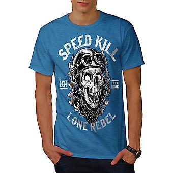 Velocidad de muerte calavera Horror hombres real BlueT-camisa | Wellcoda