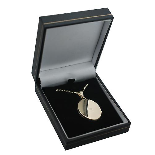 9ct Gold 30x24mm flat oval hand engraved Locket with a belcher Chain 16 inches Only Suitable for Children