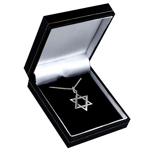 Silver 23x20mm plain Star of David Pendant with a curb Chain 18 inches