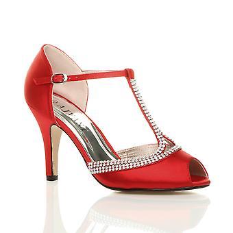Ajvani damskie wysoki obcas peep toe diamante t-bar ślub ślubne wieczorowe buty sandały na studniówkę