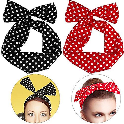 Boolavard Retro Bowknot Polka Dot Wire Head Bows Headband Hair Holder for Women Girls