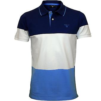 Gant 3-Color Stripe Pique Rugger Polo-Shirt, Yale blau