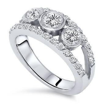 1ct tre sten Diamond Ring 14k guld