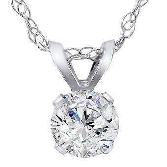 5/8ct Round Diamond Solitaire Pendant 14K White Gold