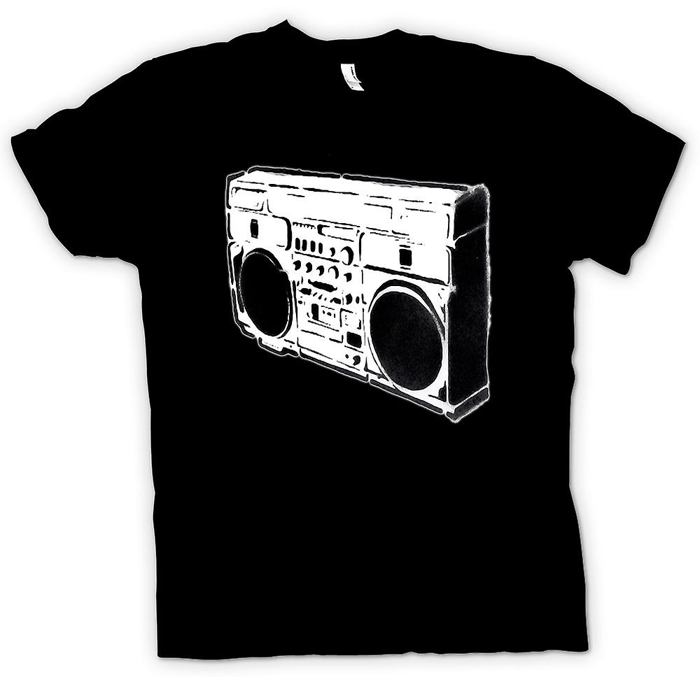 Heren T-shirt - Boombox Old School - BW