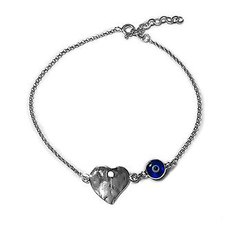 Heart Theme Double Sided Evil Eye Adjustable Anklet in Sterling Silver, 9.5