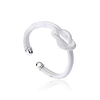 TRIXES White and Silver Mesh Knot Design Cuff Ladies Bangle
