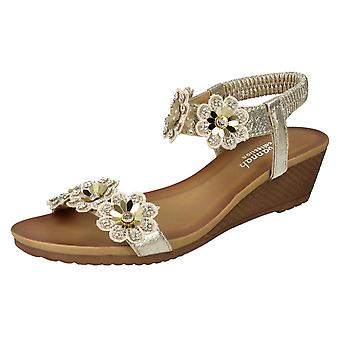 Ladies Savannah Mid Wedge Sandals F10789 - Rose Gold Synthetic - UK Size 4 - EU Size 37 - US Size 6