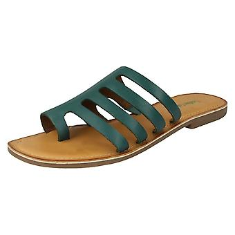 Ladies Leather Collection Flat Strappy Sandals F00125 - Green Leather - UK Size 8 - EU Size 41 - US Size 10