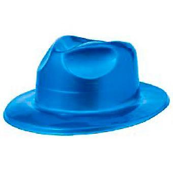 Cappello Fedora in plastica blu metallico