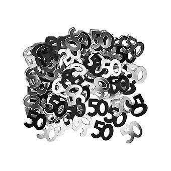 Coriandoli di compleanno 50 ° compleanno Glitz Black & argento
