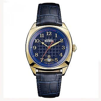 Vivienne Westwood Vv175blbl Hampstead Navy Blue & Gold Leather Watch