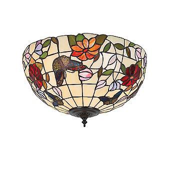 Interiors 1900 Schmetterling 2 leichte mittlere Tiffany Flush Decke Fi