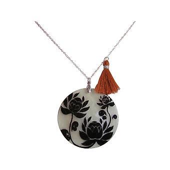 Gemshine - dames - hanger - medaillon - moeder van de parel - bloemen - halsketting - 925 zilver - zwart - bruin - 5 cm